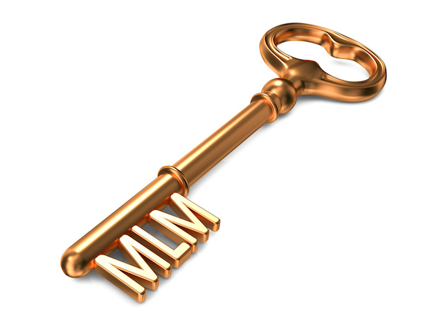 MLM -plans- Golden Key. Business Concept.